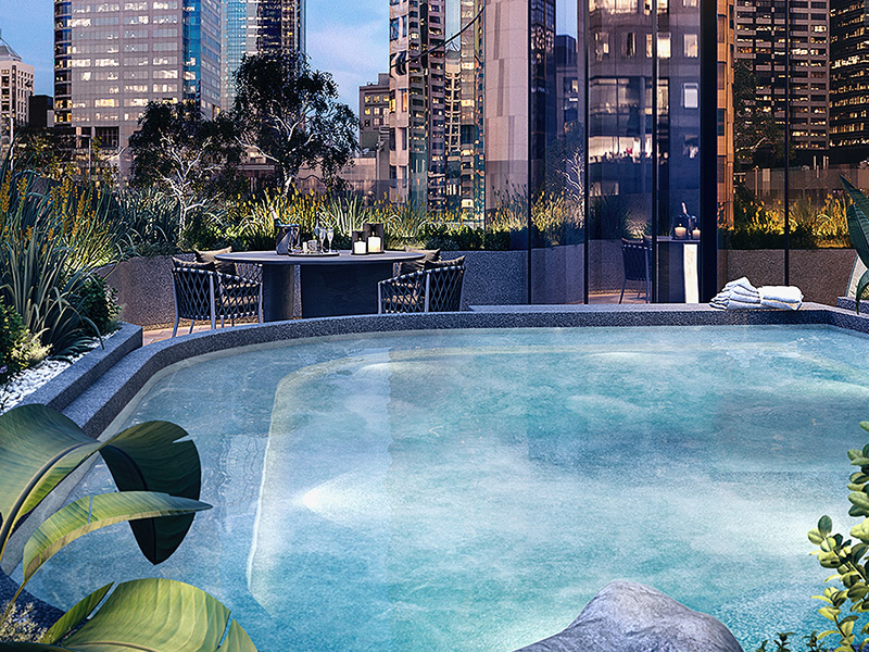 Aspire Melbourne - amenity outside hot pool